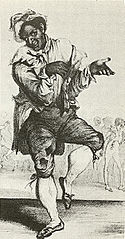 Drawing of a  man in blackface make-up wearing raggedy clothes and white stockings, dancing a jig with an exaggerated facial expression.