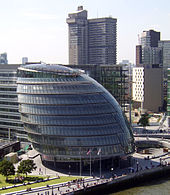 London City Hall is the headquarters of the Greater London Authority (GLA) which comprises the Mayor of London and London Assembly. It is located on the River Thames in the London Borough of Southwark