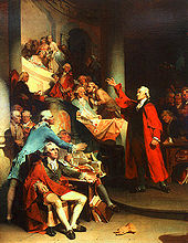 Upper-class middle-aged man dressed in a bright red cloak speaks before an assembly of other angry men. The subject's right hand is raise high in gesture toward the balcony.