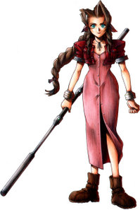 Drawing of a brown-haired girl with green eyes holding a large staff. She wears silver bracelets, brown boots and a shin-length pink dress that buttons up with the front with a red bolero jacket.
