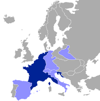 Map of Europe as at 1812, highlighting France and her client states