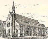 A drawing of a church with high, sloping roof and a narrow tower with open belfry off to the right of the roof ridge