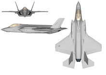 Colour drawing depicting the top, side and front of a modern jet fighter aircraft. The aircraft is painted grey and has one engine.