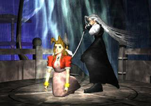 A brown-haired girl in a pink dress is stabbed in the back by a white-haired man wearing black clothing.