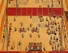 "Mugo, drum dance depicted in the picture titled ""Gojong Imin Jinyeon Dobyeong"" (Painting screen folder illustrating the feast for Korean Emperor Gojong in Imin year (1902) alt text"