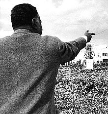 The back of a man in a gray jacket pointing forward, with a large crowd in front of him.