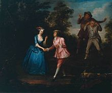 A woman meets a man in a sylvan scene. She wears a blue silk dress, and he—an actress dressed as a man—wears a pink silk jacket and breeches, with white stockings and silver-buckled shoes. They each solicitously clasp the other's right hand, while two rude men in more humble attire look on.