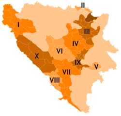 Map showing cantons or counties of the Federation of Bosnia and Herzegovina.