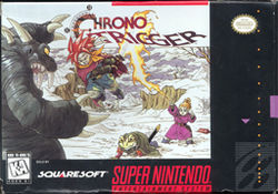 """CHRONO TRIGGER"", a snowy field, a dark blue monster with arms raised in the left frame, the character Crono flying to it in the middle with his sword drawn, beneath him the character Frog hunched over on the ground, to the right the character Marle shooting fire from her fingertip"