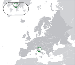 Location of San Marino in Europe