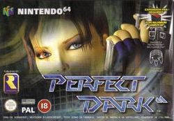 "A red headed woman's face occupies the foreground on an industrial-style background. She is holding a gun. A grey alien is visible at the bottom right corner. In the bottom of the image, the title ""Perfect Dark"" featuring a double slash symbol after the word ""Dark"". Rareware's logo, Nintendo' Seal of Quality, BBFC's rating of ""18"", and the Dolby Surround Sound logo are shown at the bottom left corner. On the right side of the image, game specifications."