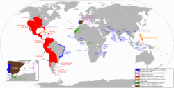The areas of the world that at one time were territories of the Spanish Empire.