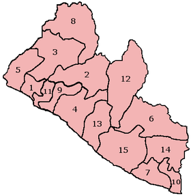 A clickable map of Liberia exhibiting its fifteen counties.