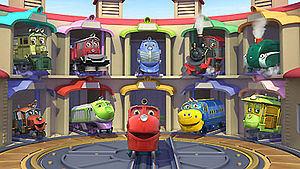 The characters in their sheds from left to right going down: Dunbar, Irving, Harrison, Old Puffer Pete, Olwin, Hodge, Koko, Wilson, Brewster and Zephie