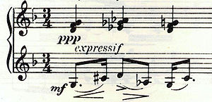 "A fragment of printed piano music in 3/4 time, the upper stave is marked ""ppp"" and ""expressif"", the lower is marked ""mf""."