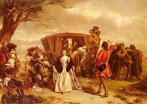A well-dressed man stands in front of a young woman in 18th-century dress.  Behind her, a coach is stopped, and several masked men are armed with pistols.  The occupants of the coach are in disarray.  To the left, another masked man plays a small flute.  Before him, an older man sits, his arms tied behind his back.
