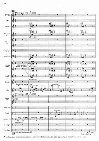 "A page from a printed musical score. The tempo marking is ""Presque vif"", and the orchestration is for wind, strings and percussion instruments."