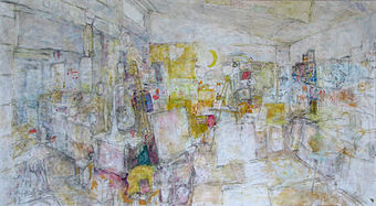 Image Studio Panorama #3 oil on masonite by Gordon Rice alt