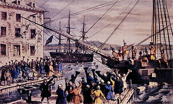 Two ships in a harbour, one in the distance. Onboard, men stripped to the waist and wearing feathers in their hair are throwing crates overboard. A large crowd, mostly men, is standing on the dock, waving hats and cheering. A few people wave their hats from windows in a nearby building. Monopolistic activity by the company triggered the Boston Tea Party.