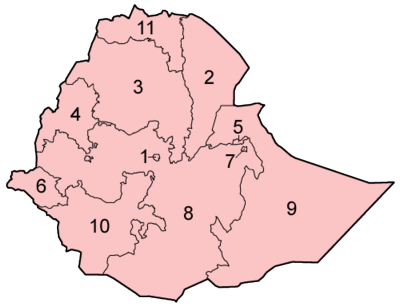 A clickable map of Ethiopia exhibiting its nine regions and two cities.