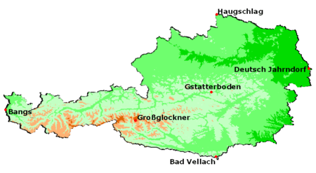 Map of the extreme points of Austria