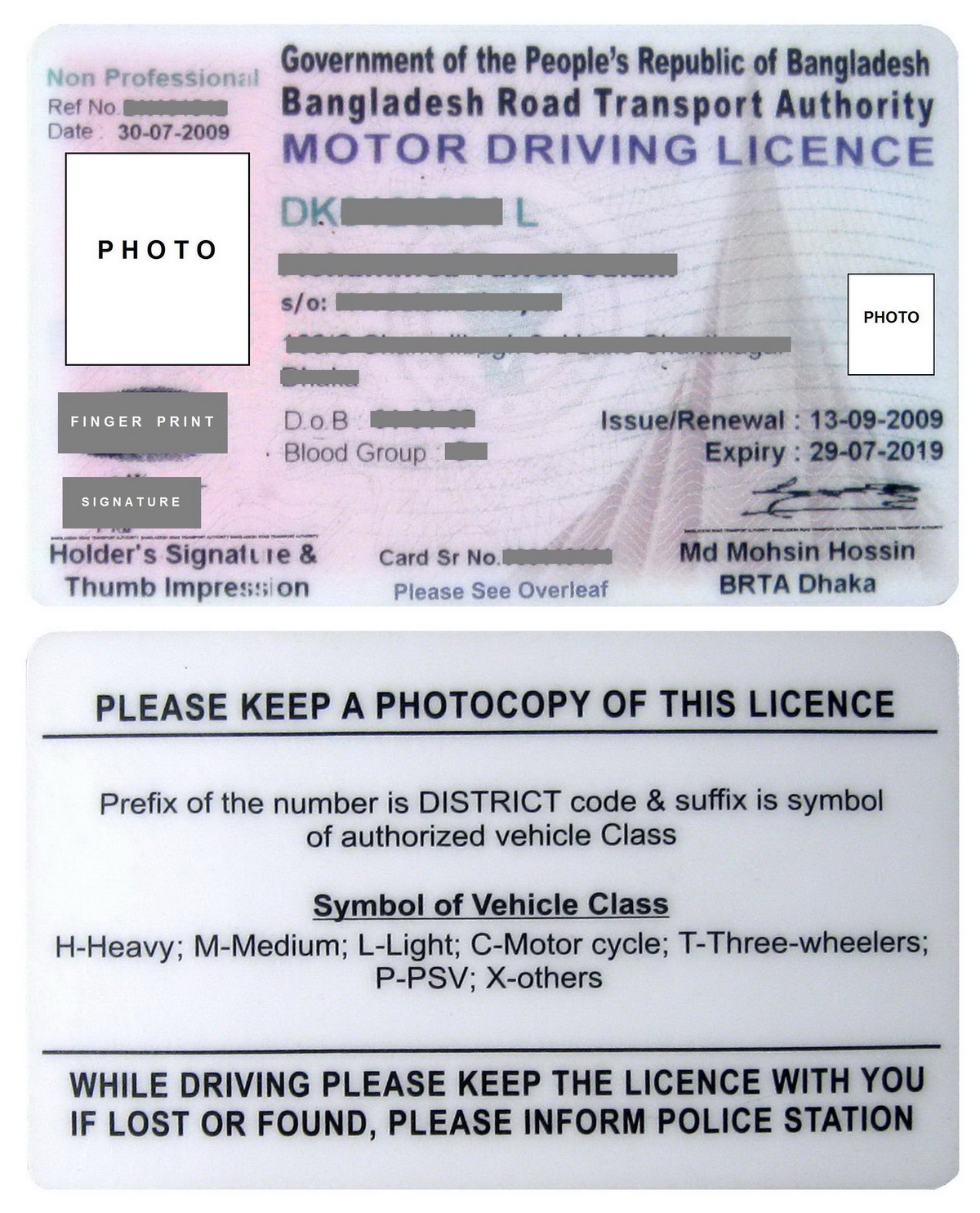 Driver 39 s license for Motor vehicle licence renewal