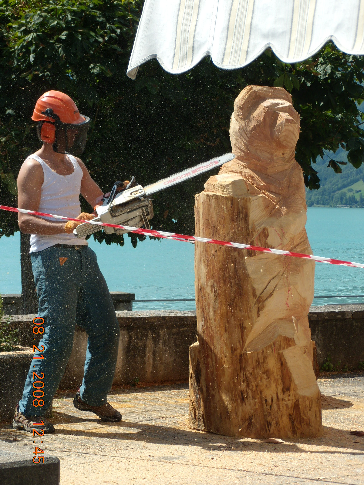 Chainsaw carving of tiger climbing down rocks u time lapse video