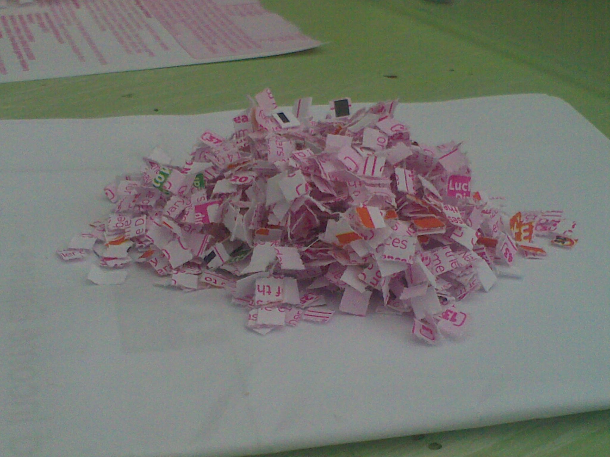 832c1206a The shredded remains of a National Lottery play slip.
