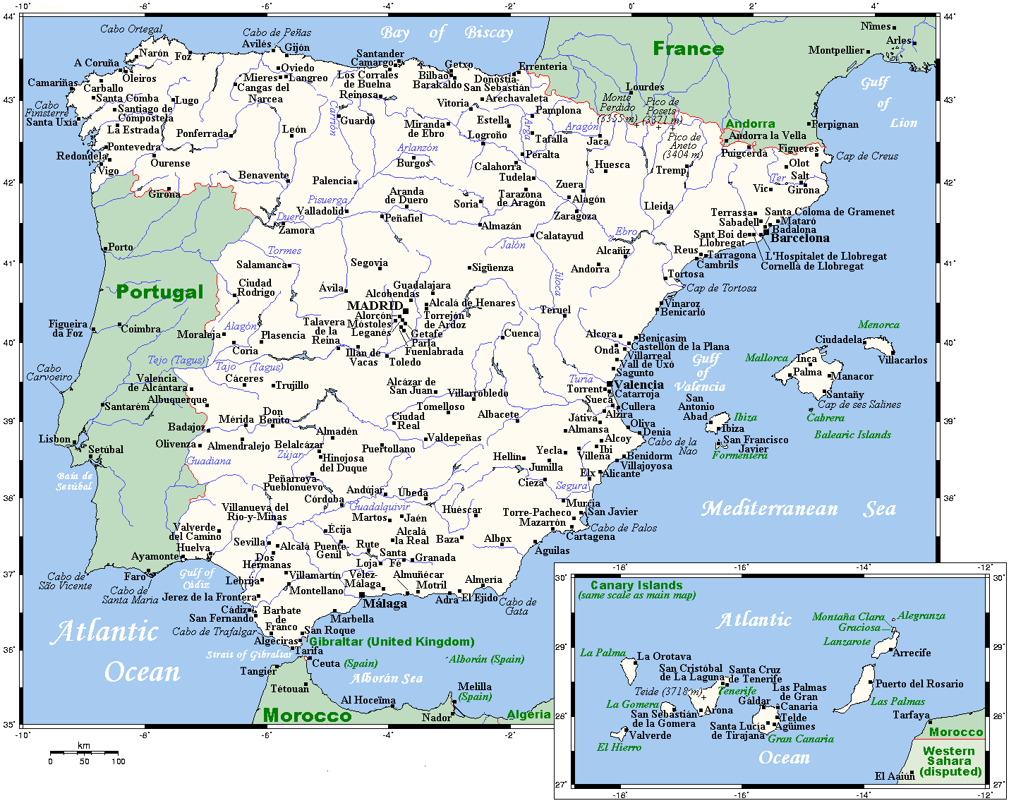 Map Of North Spain Coast.Geography Of Spain